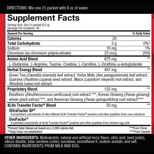 Energy By 4Life Supplemental Facts