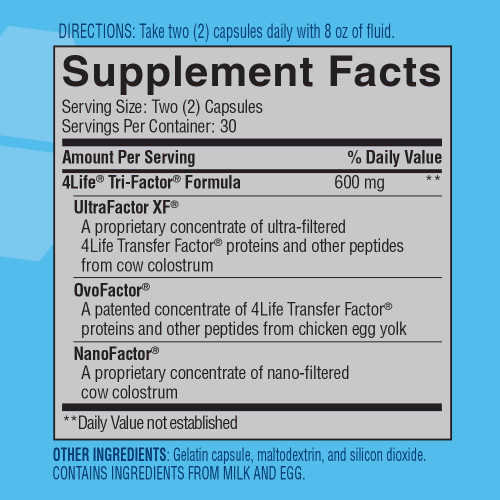 4Life Transfer Factor Tri-Factor Supplemental Facts
