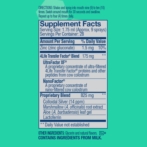Supplemental Facts Transfer Factor Spray Mint