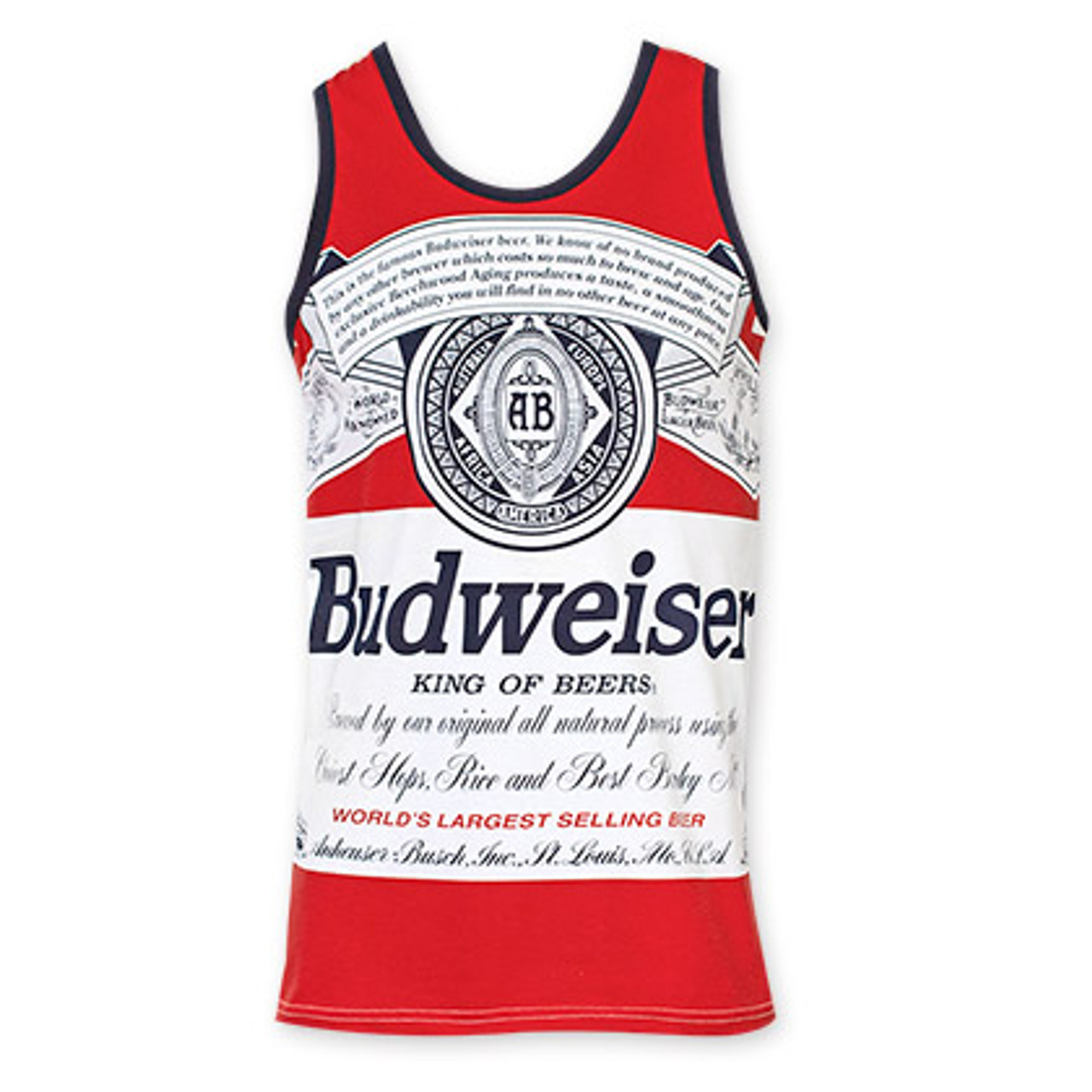 53bc5b49479db Budweiser Men's Red Bottle Label Tank Top - Quality Liquor Store