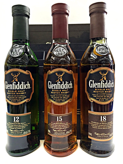 Glenfiddich Trio 12 Year 15 Year 18 Year Gift Set