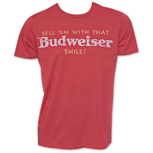eafde535 Budweiser Beer Sell 'Em With That Smile Vintage Retro Junk Food T-Shirt