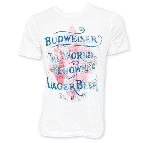 d841c1a6 Budweiser Men's White World Renowned Vintage T-Shirt - Quality ...