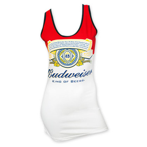 74c6ea75e8ce2 Budweiser Red And White Label Women's Tank Top - Quality Liquor Store