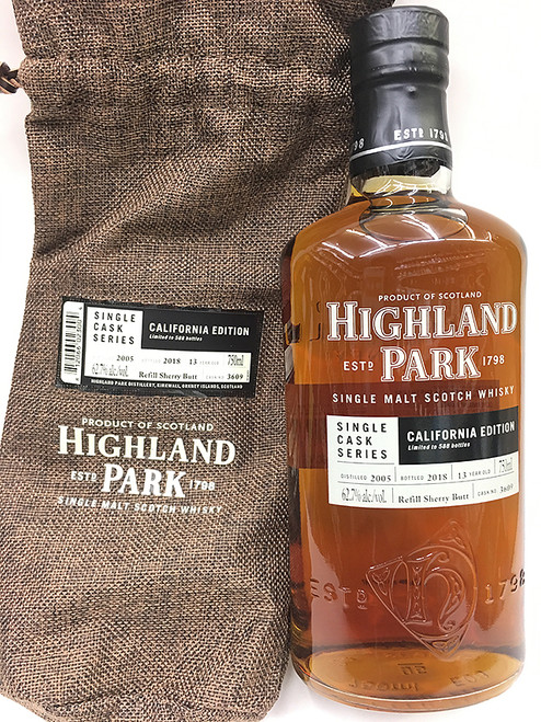 Highland Park Single Cask California Edition 13 Year Old Scotch with bag