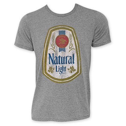 753f1a04 Natural Light Men's Grey Full Color Label T-Shirt - Quality Liquor Store