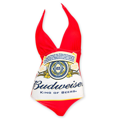 4a891e9529 Budweiser Women's Red One Piece Logo Swimsuit - Quality Liquor Store