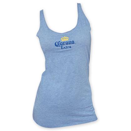 c43702a6c4b68b Corona Extra Women s Light Blue Racerback Tank Top - Quality Liquor ...