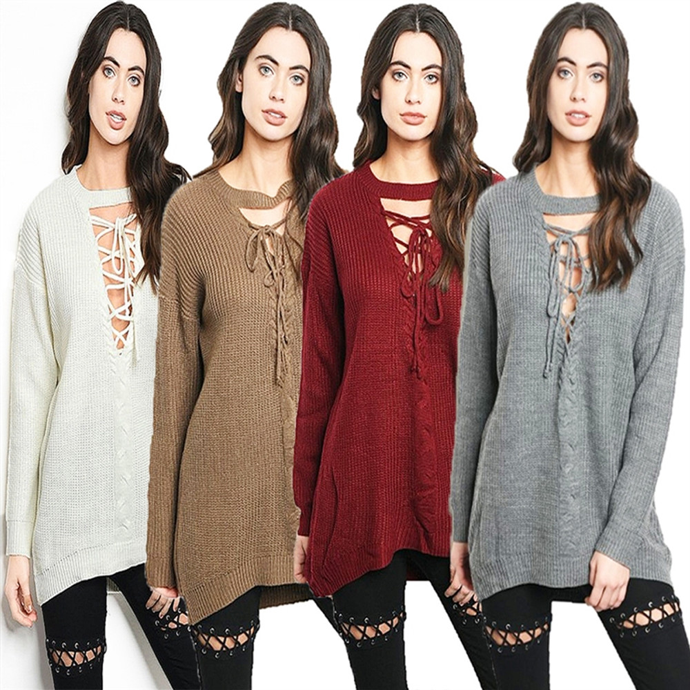Gypsy Gothic Oversized Ribbed Knit Sexy Lace up Sweater Top - S270121