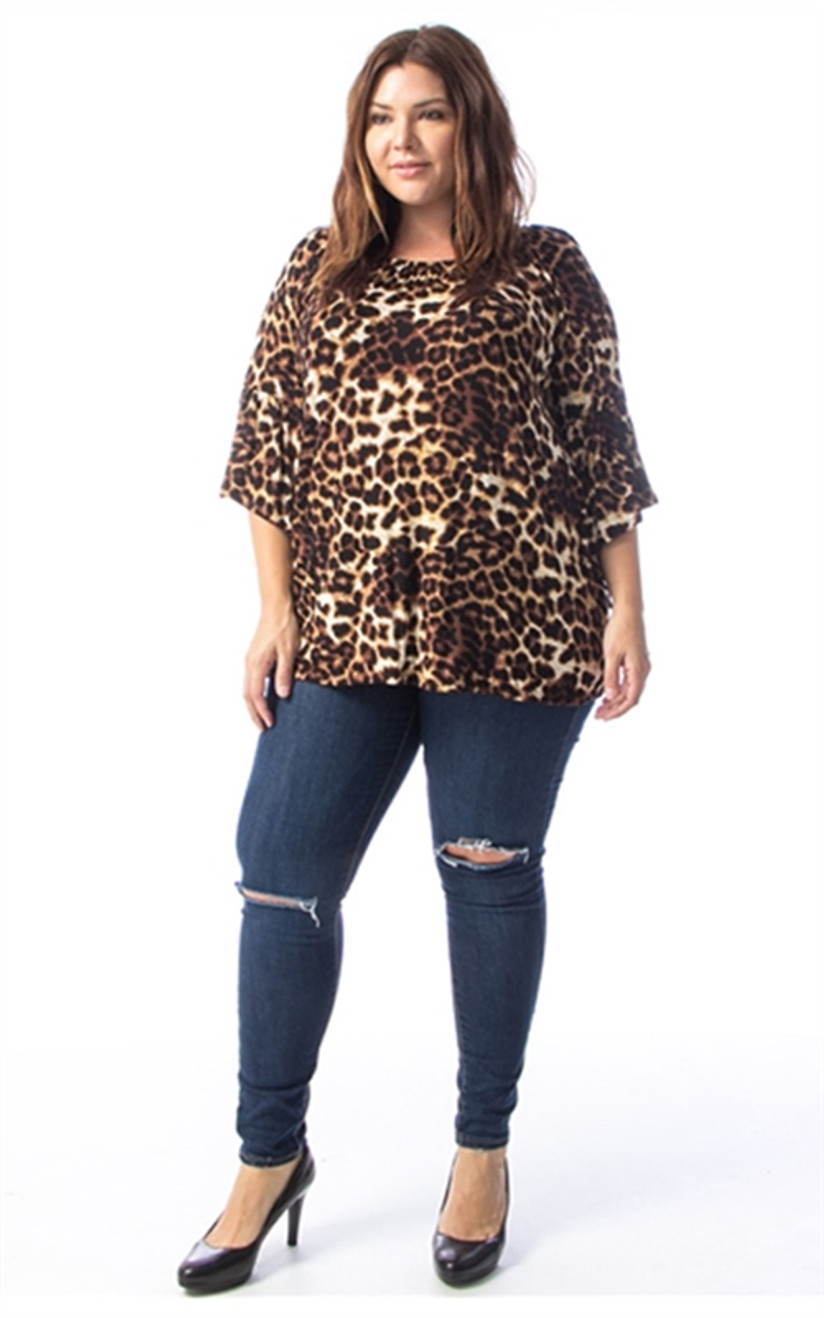 PLUS Leopard Ruffle Sleeve Tunic Top