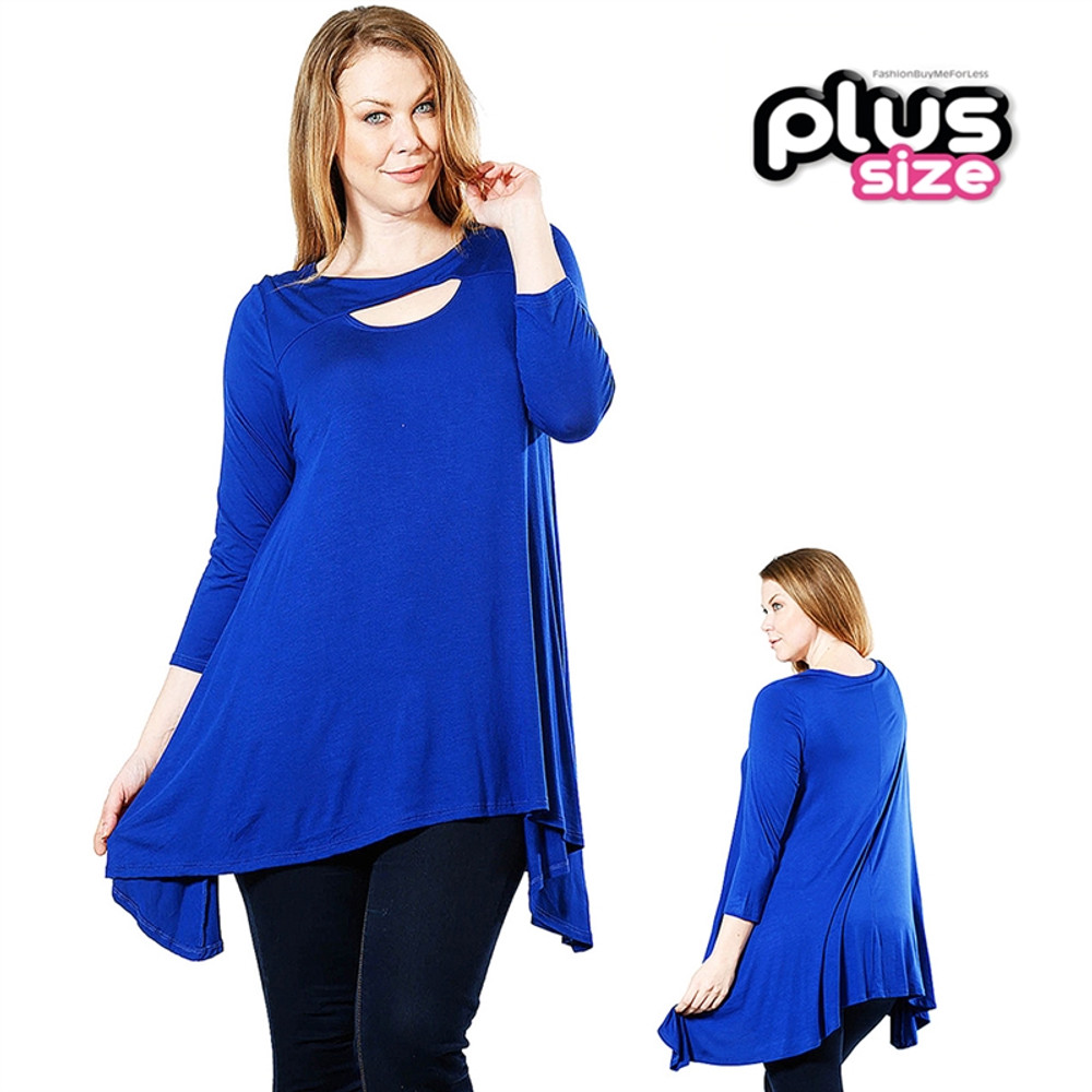 Yolanda PLUS Blue Gypsy Jersey Tunic Swing Top