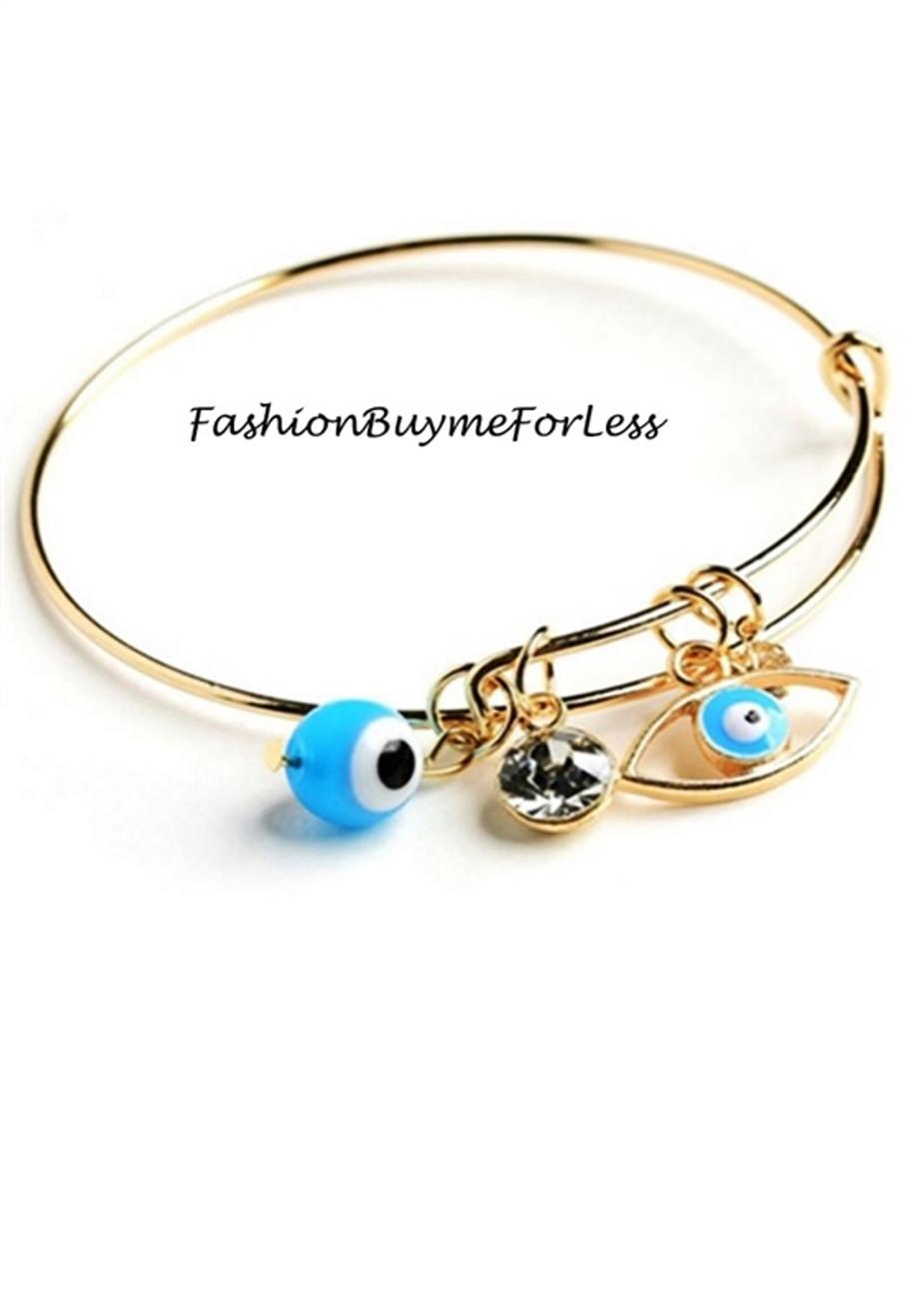 Gold Blue Hamsa Evil Eye Lucky Bangle Bracelet