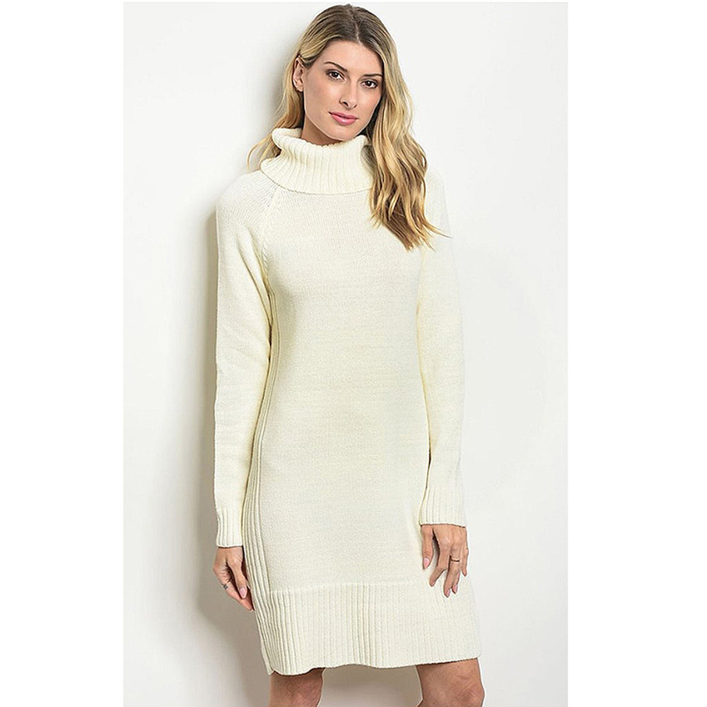 London Funnel Neck Cozy Sweater Dress