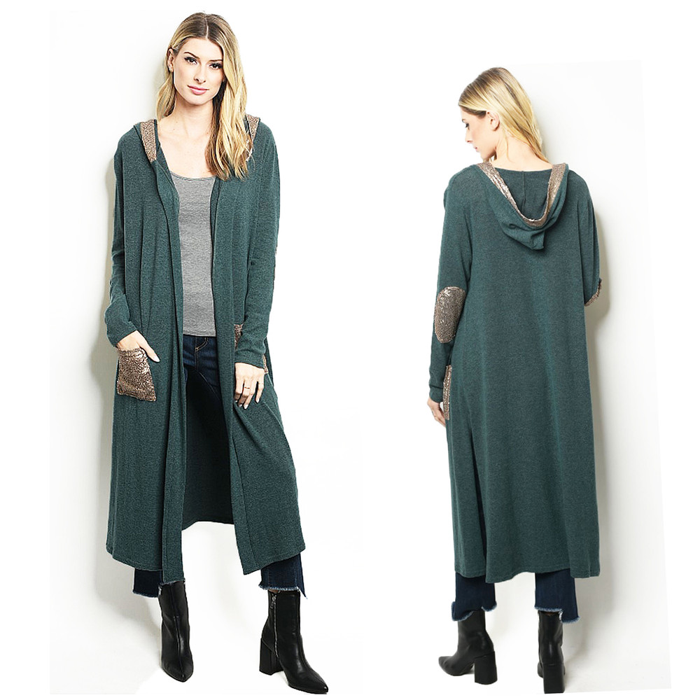 Sequins Hooded Longline Sweater Cardigan