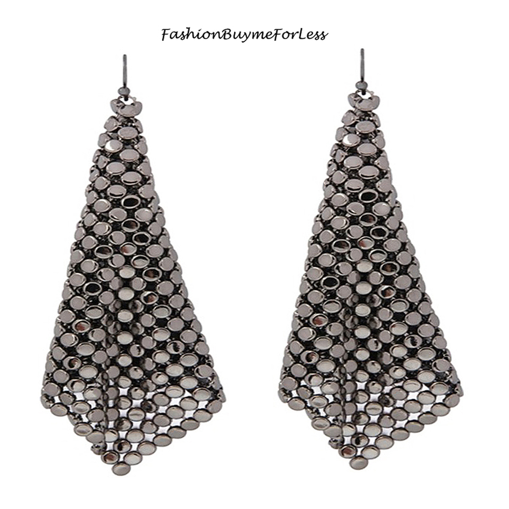 Hematite Chainmail Sheets Dangling Earrings
