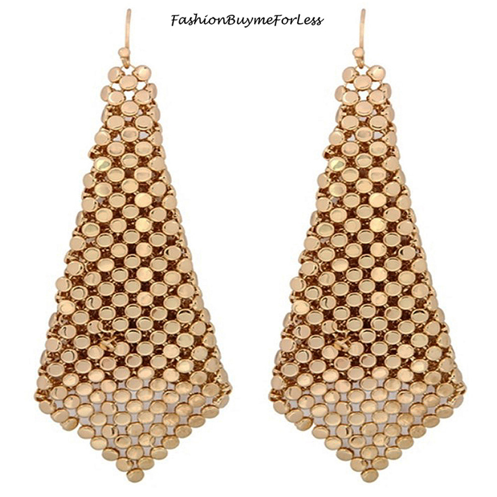 RETRO GOLD Chainmail Sheets Dangling Earrings
