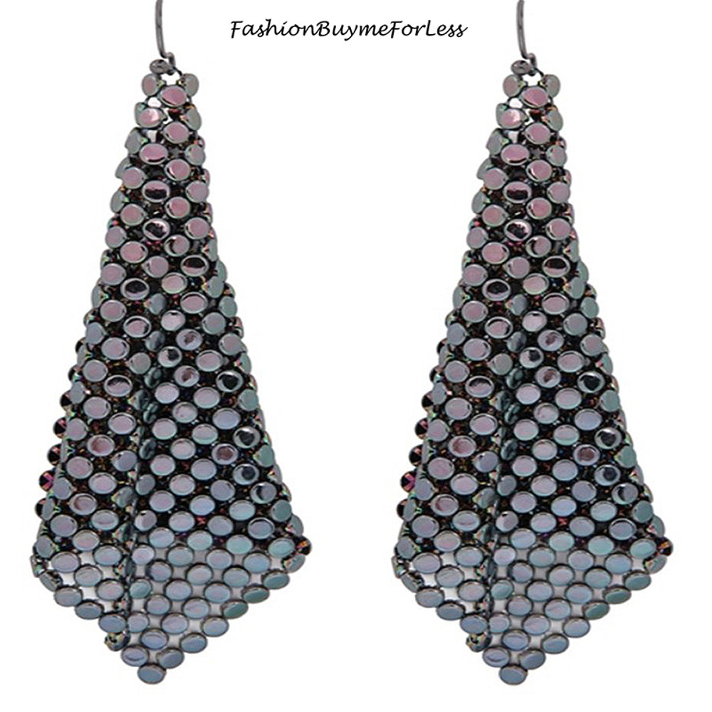 Peacock Chainmail Sheets Dangling Earrings