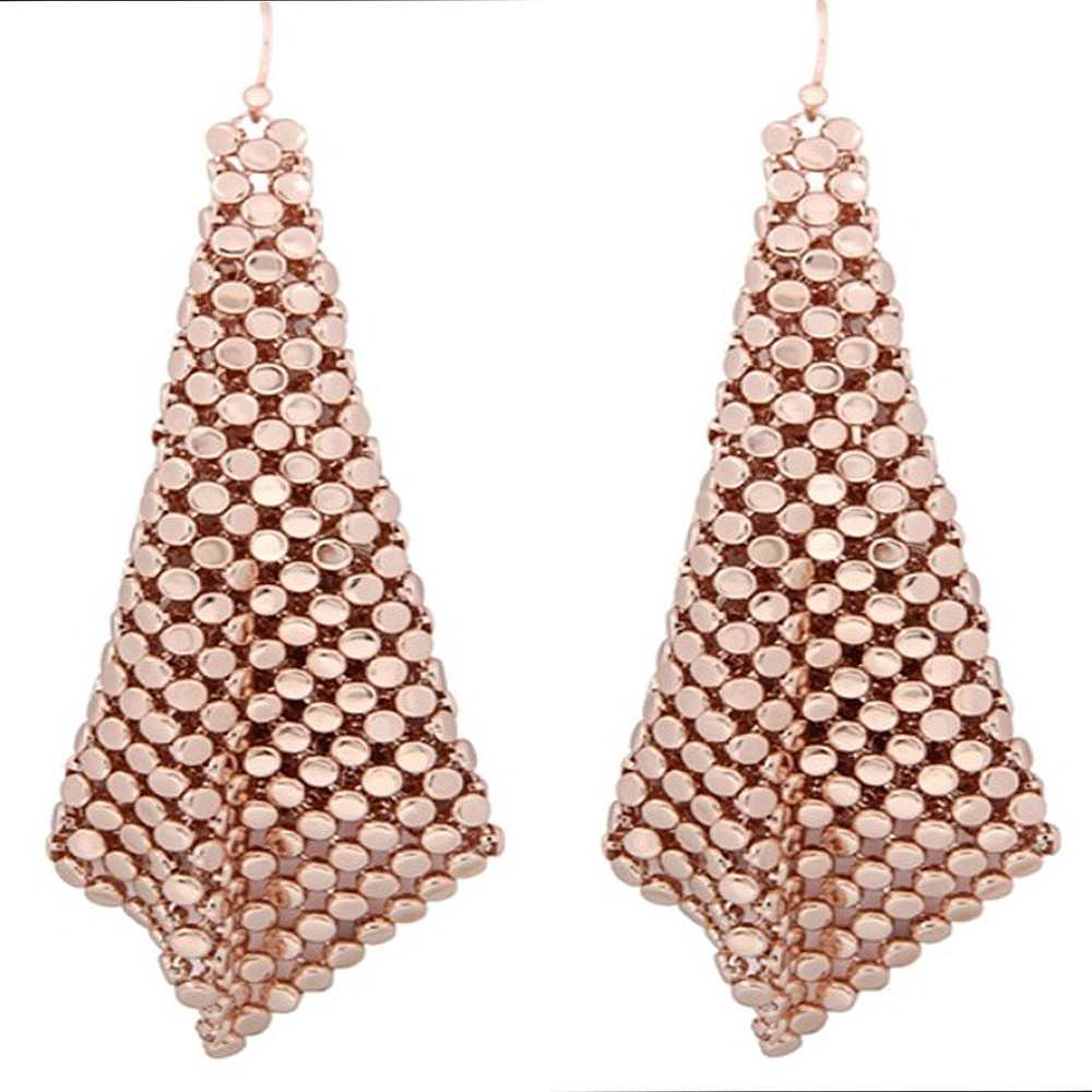 Rose Gold Chainmail Sheets Dangling Earrings