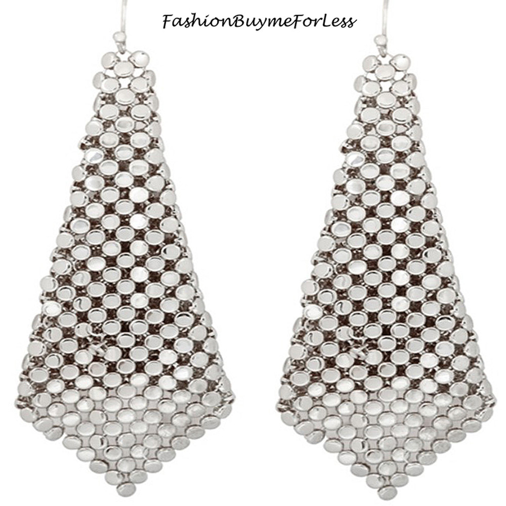Rhodium Chainmail Sheets Dangling Earrings