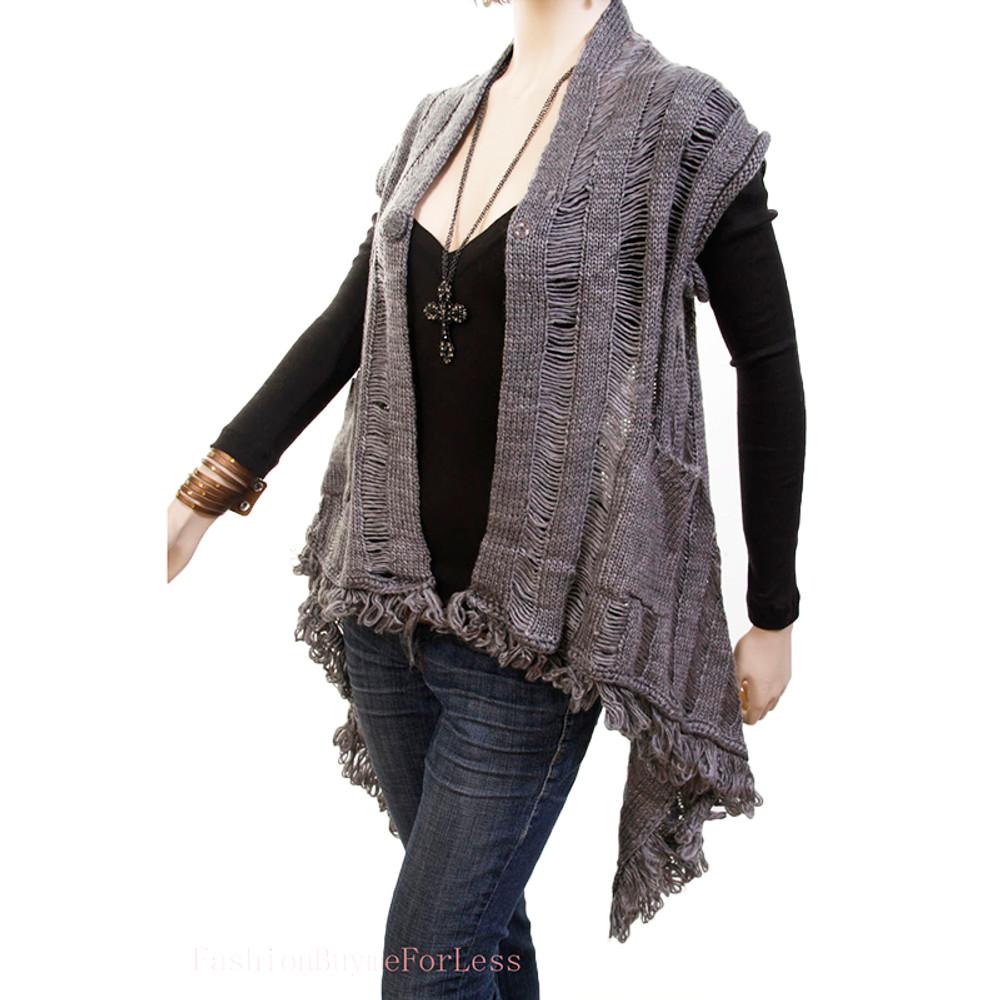 Gray Mohair Sweater Cardigan Top