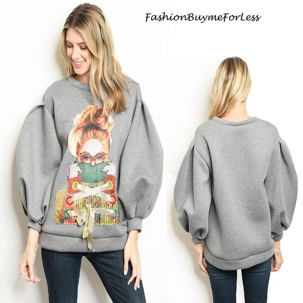 Ponte Balloon Sleeve Oversized Sweater Top