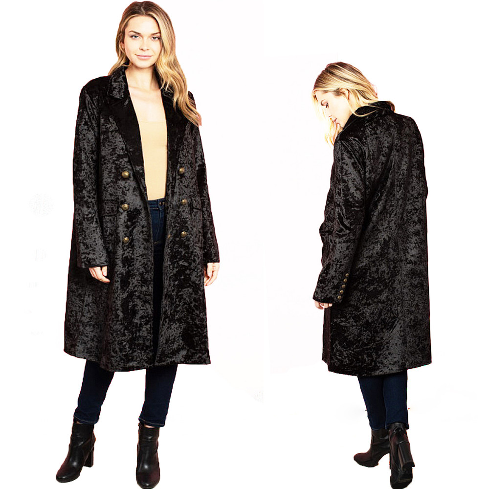 Retro Gothic Oversized Crush Velvet Coat