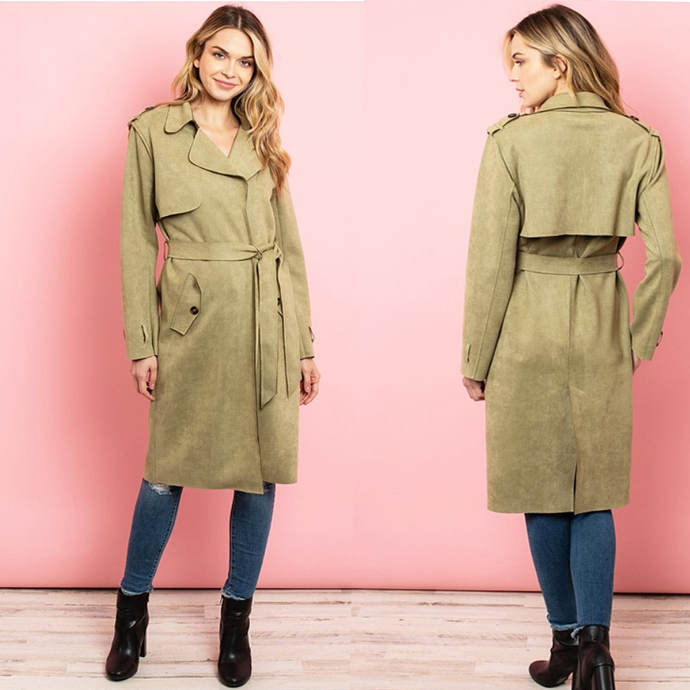 Diana Olive Kensington Suede Trench Coat