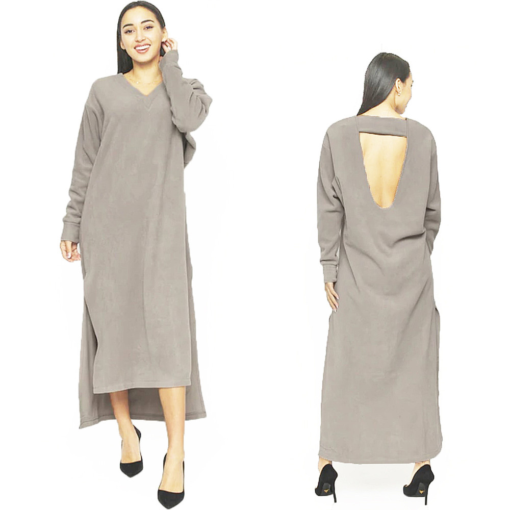 Keyhole Back FLEECE Maxi Sweater Dress