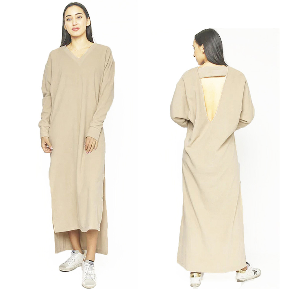 Keyhole Back FLEECE Long Maxi Sweater Dress