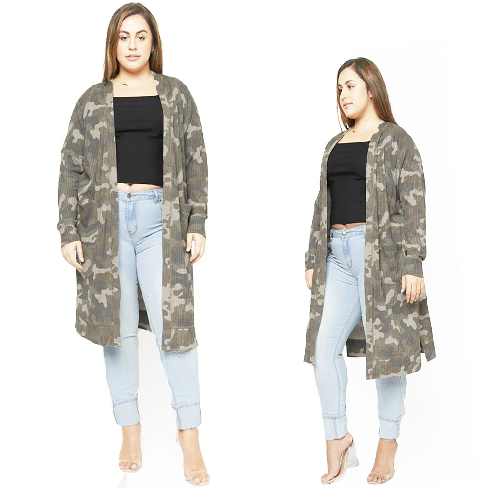 PLUS Size Camo Mineral Washed Cardigan