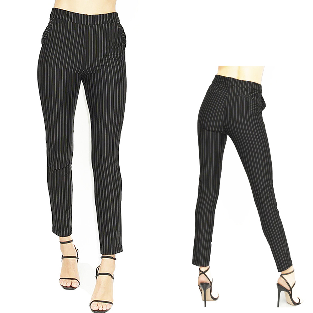 Classic Fit Zip up Mid Rise White Chalk Stripe Trousers