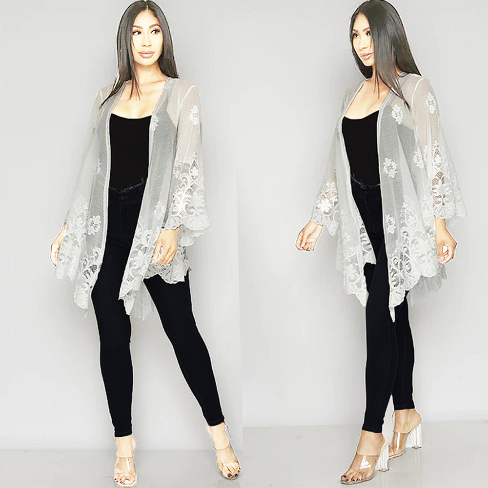 Victorian  Scalloped Lace Bell Sleeve Cardigan Top K46266