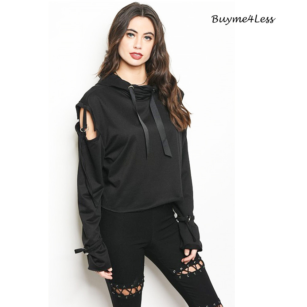 Gothic Steampunk Crop Open Cold Shoulder Hoodie Sweater Top S06017