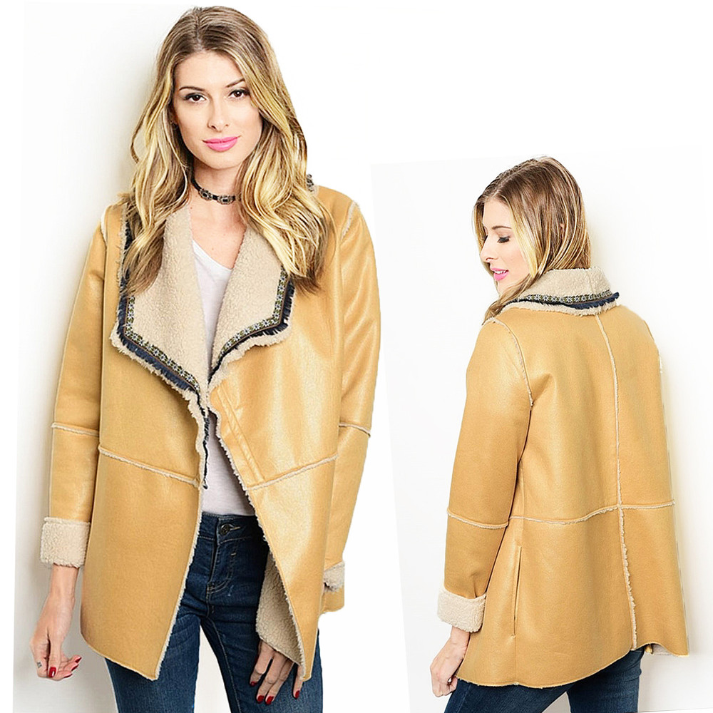 BOHO Rodeo Faux Suede Leather Fleece Shearling Sherpa Jacket  J20131