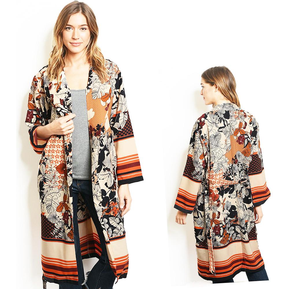 Tropical Forrest Floral Maxi Kimono Long Taffeta Silky Duster Cardigan - C01500