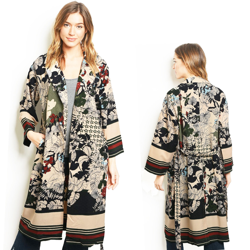 Tropical Floral Belted Maxi Long Silky Taffeta Duster Cardigan - C01500