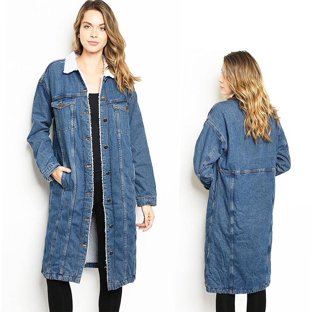 Denim Fleece Faux Lamb Shearling Sherpa Outerwear Maxi Long Jacket Coat - C50821
