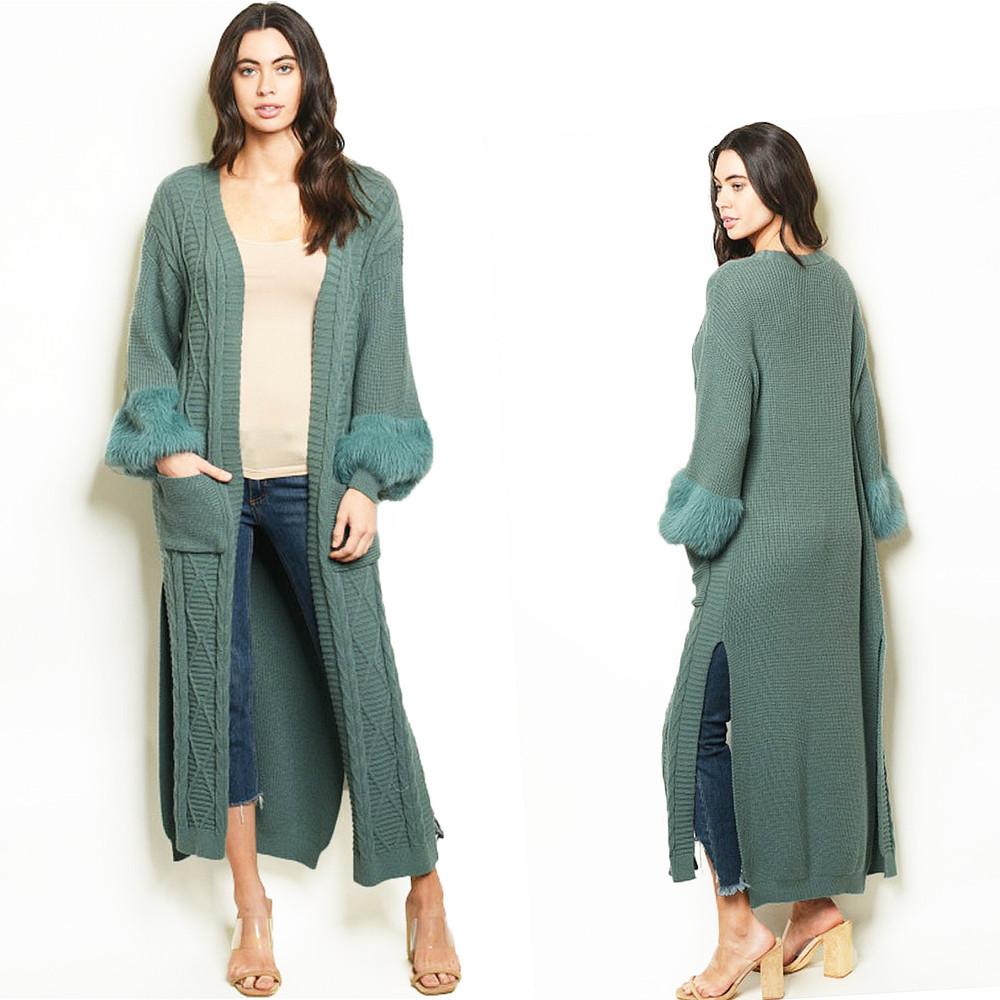 70S Retro Hippie BOHO Sage Faux Fur Cable Chunky Knit Maxi Sweater Cardigan Coat - C42107