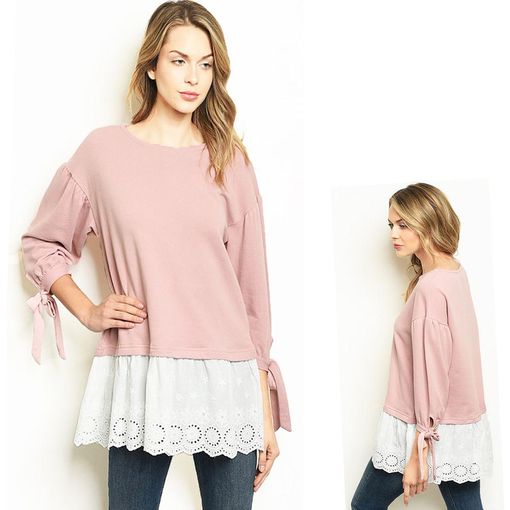 70S' BOHO Oversized Lace Ruffle Trim Pink Cotton Knit Tunic Sweater Top - T6261