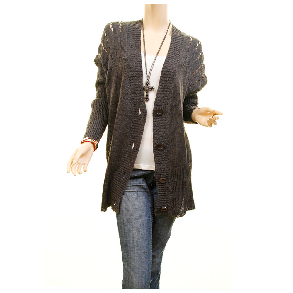 Gray Pointelle Knit Oversized Outerwear Sweater Cardigan OS One Size - UQSW7867