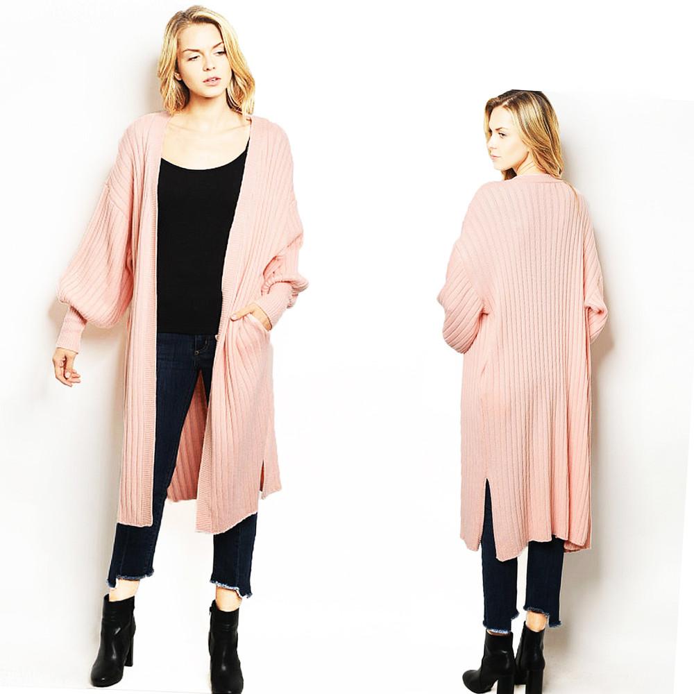 Pink Oversized Royal Princess Lantern Sleeve Duster Sweater Cardigan - C3001