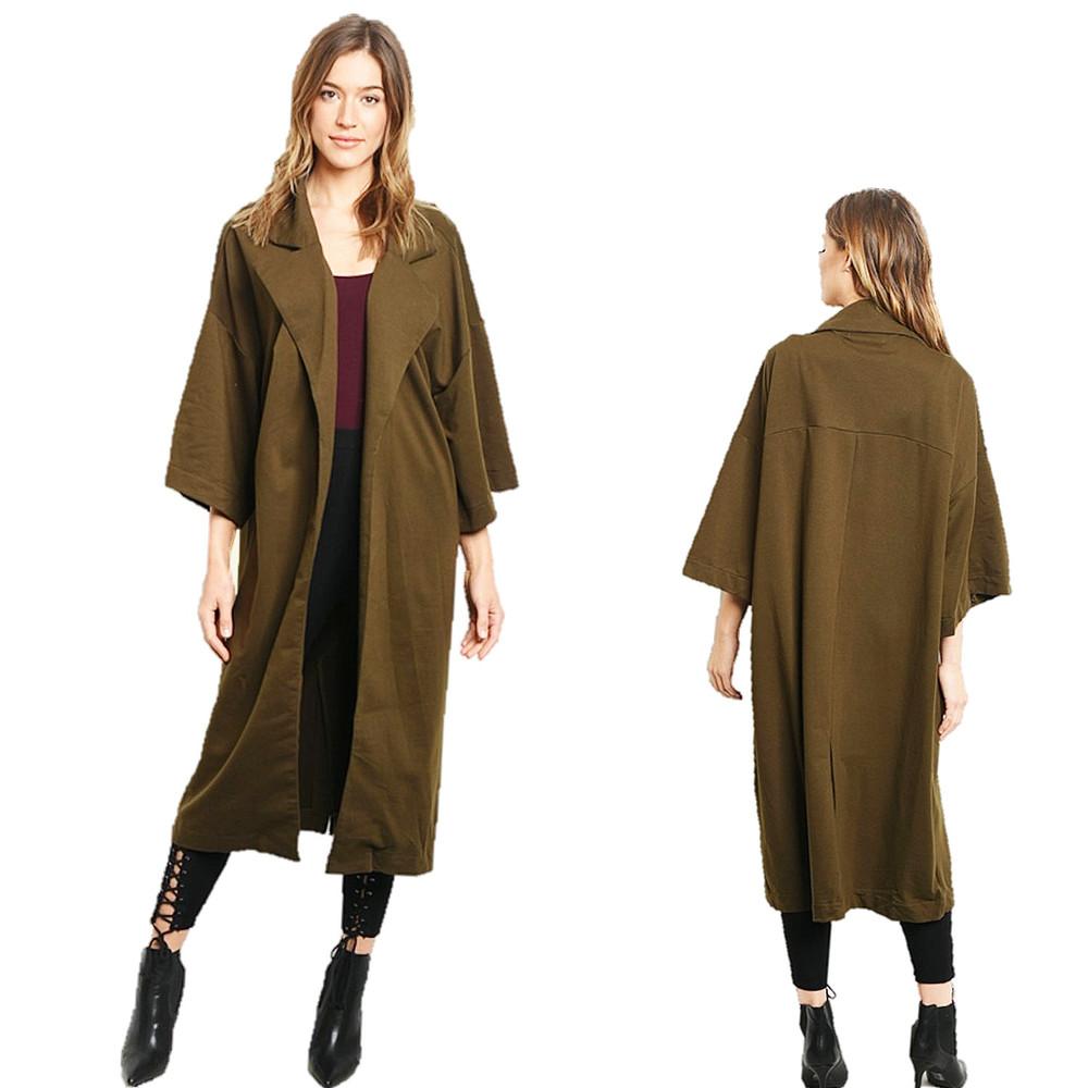 Gothic Olive Open Front Kimono Sleeve Maxi Long Duster Cardigan Jacket - J39131
