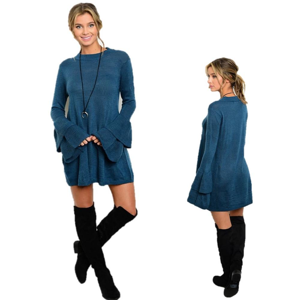 Boho Hippy Bohemian Teal Blue Wool Knit Bell Sleeve Tunic Sweater Dress -S2880