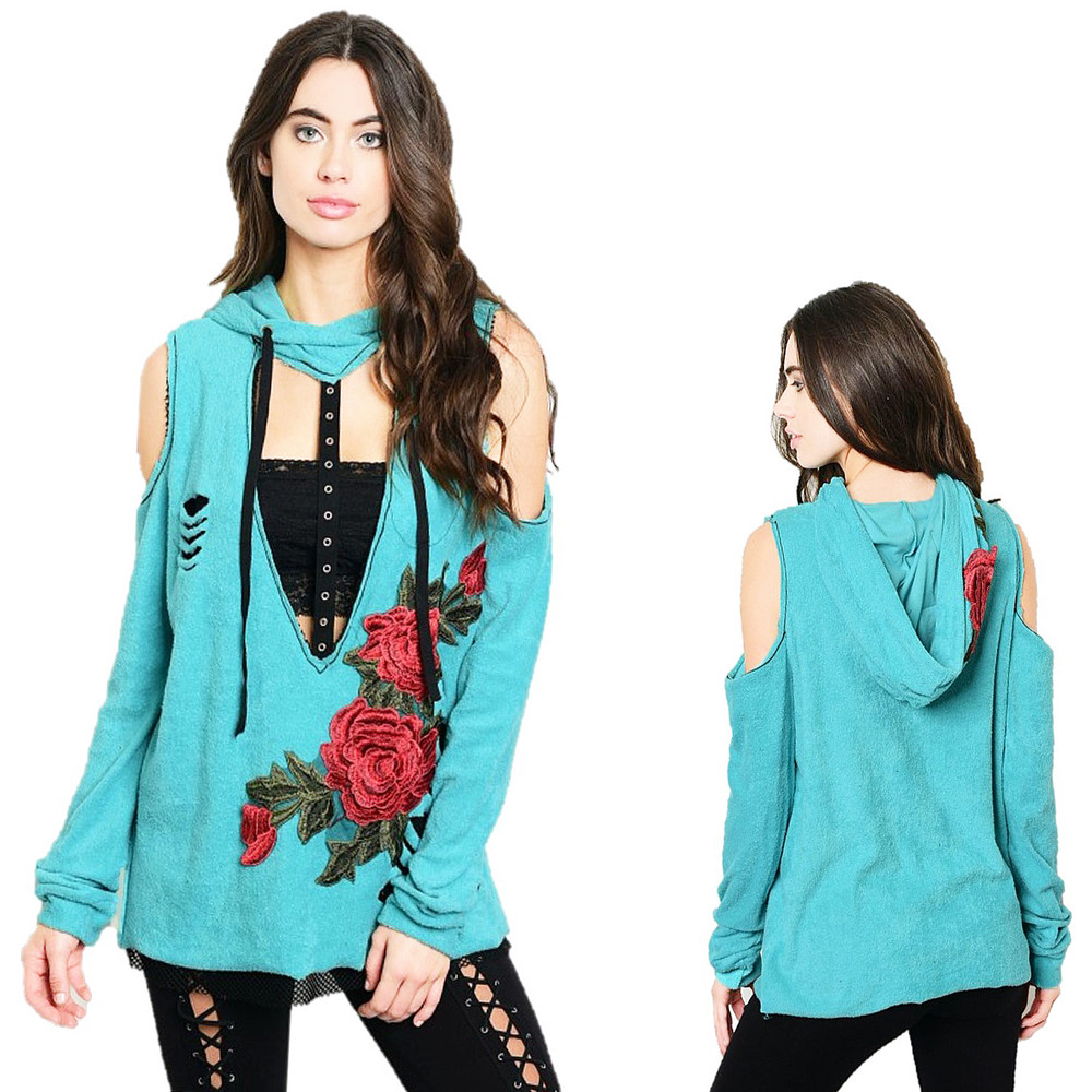 Blue Hippie Embroidery Rose Distressed Hoodie Moto Tunic Sweater Top - T7244