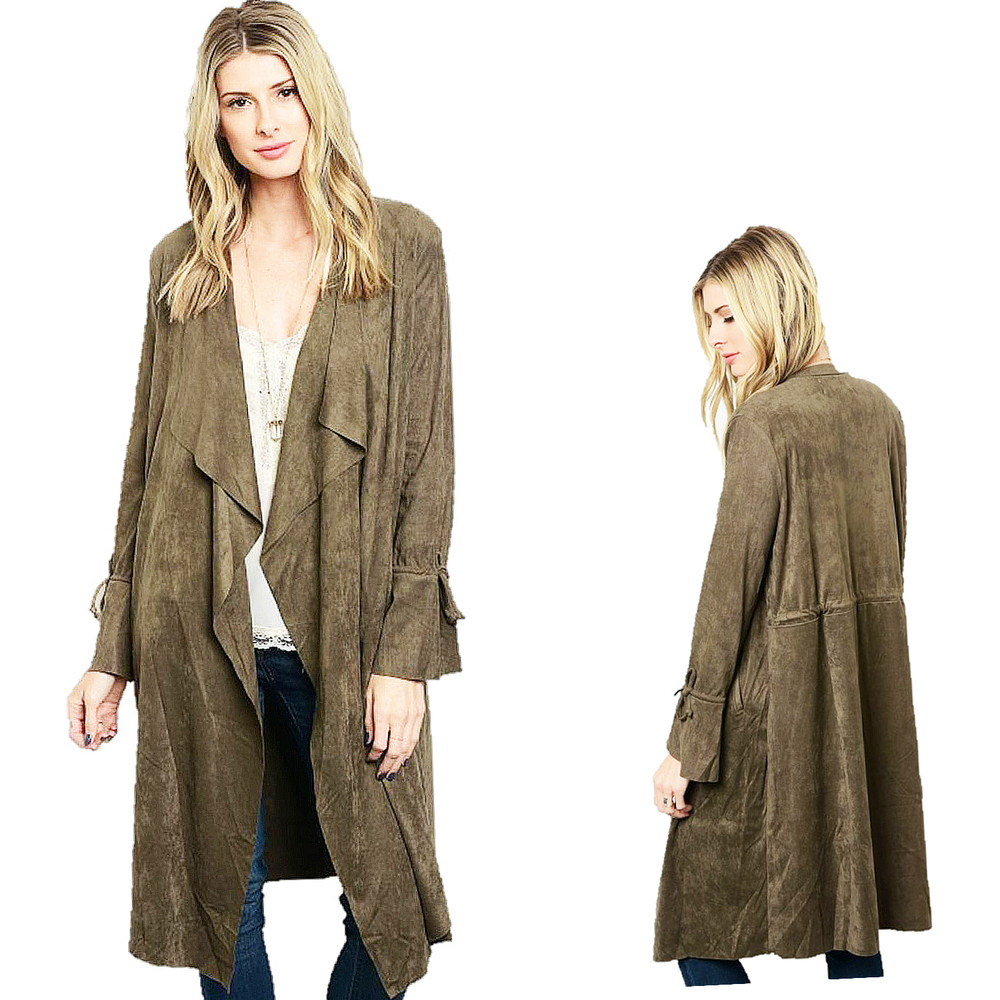 Olive Western Cowgirl Hippy Goth Faux Suede Leather Duster Jacket Coat - C66811