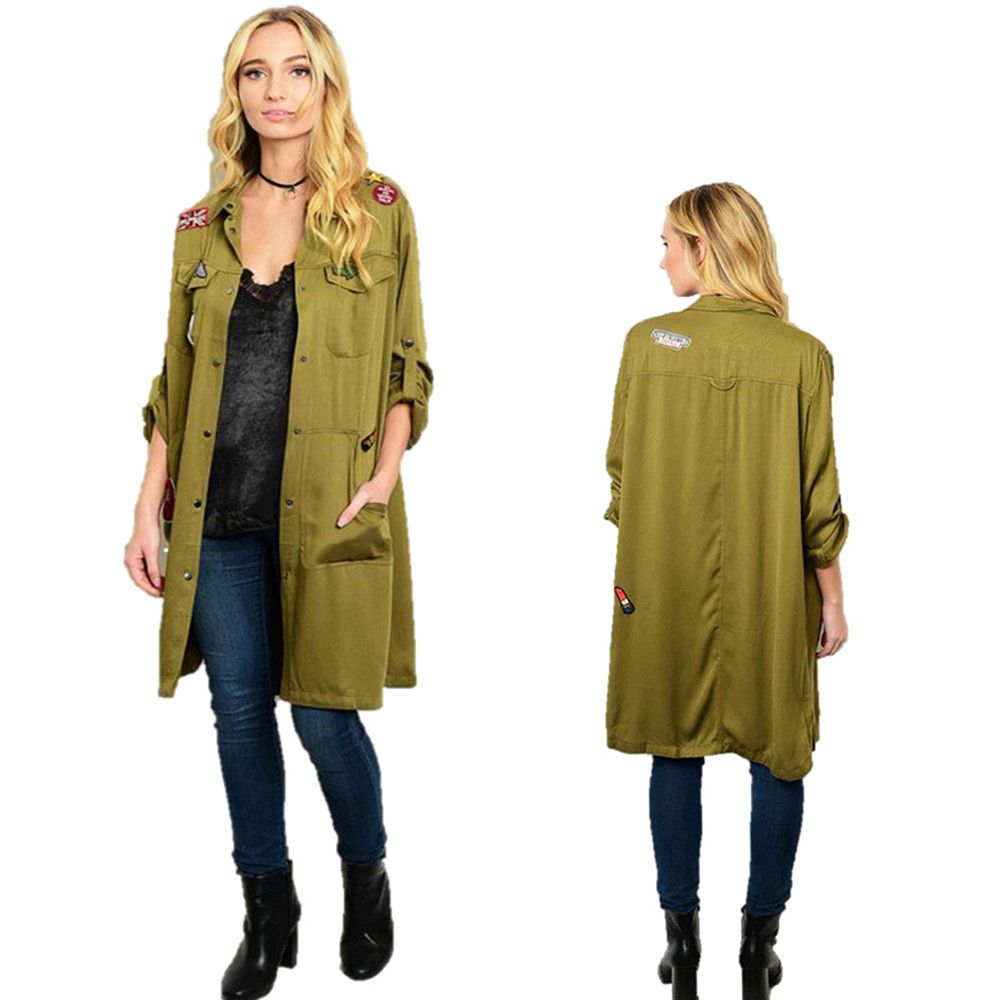 Olive Army Military Patch Long Cardigan Shirt Bomber Jacket Trench Coat - JB0961