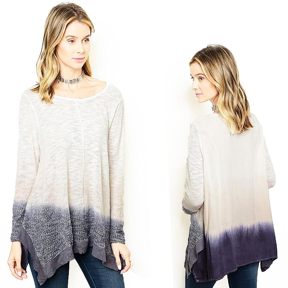 BOHO Gypsy Ivory Purple Hippie Ombre Tie Dye Sharkbite Tunic Sweater Top T85071
