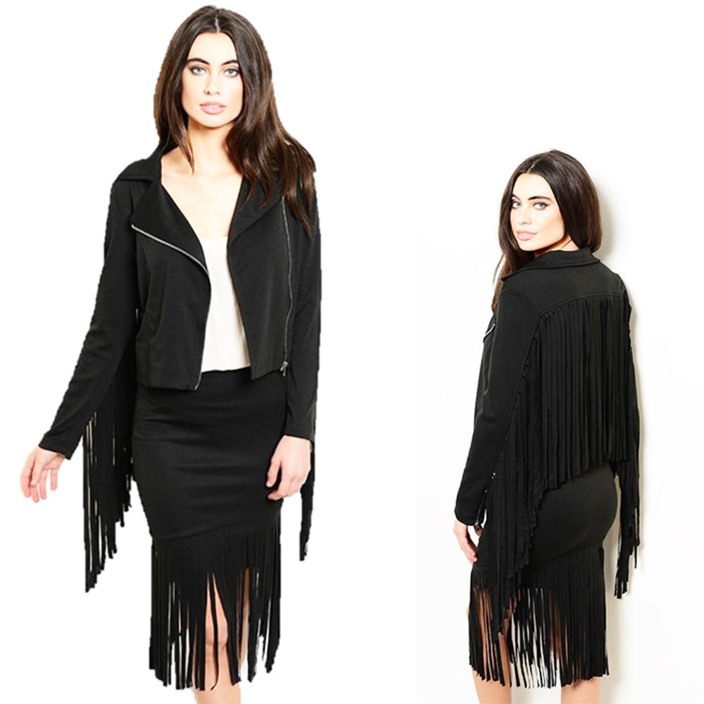 Hippie MOTO Biker Black Ponte Gypsy Fringed Skirt Jacket Set - SET9307