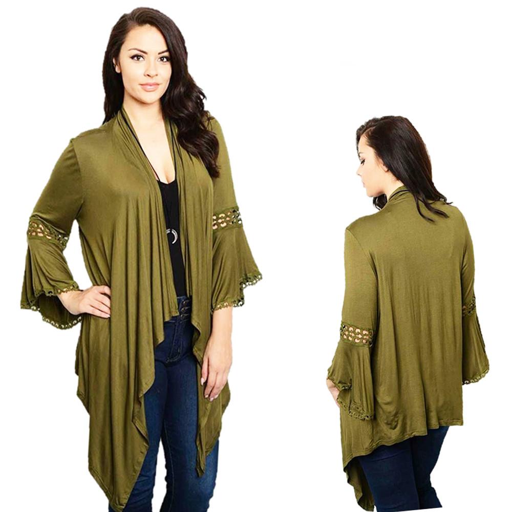PLUS SIZE Olive Open Crochet Gypsy Bell Sleeve LagenLook Sweater Cardigan Top T4001X