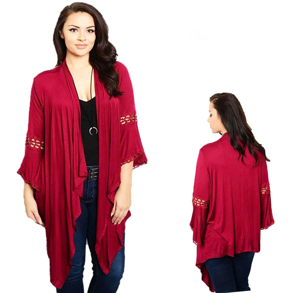 PLUS BOHO Burgundy Crochet Bell Sleeve Gypsy Sweater Cardigan Top T4001X